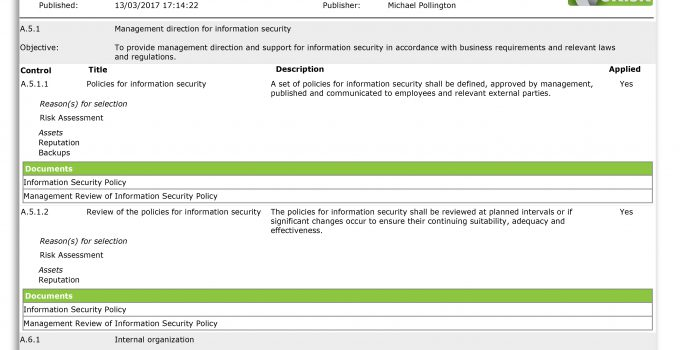 Screenshot of an SoA produced by vsRisk